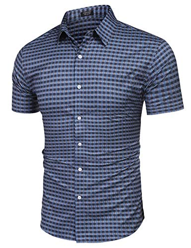 COOFANDY Men's Checkered Short Sleeve Top Button Down Gingham Shirt Blue