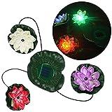 RivenAn Solar Powered 3 LEDs Floating Lotus Flower Lamp Night Light for Pond Garden Pool Lake Landscape Decoration