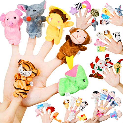 - Original Color Finger Puppet, 43 Pack Assorted Soft Plush Finger Dolls,Cute Velvet Animal,Family,Santa Claus,Sea Animal Finger Puppet Toy for Kids Girls Boys Toddlers,Finger Animal Puppet Play Set