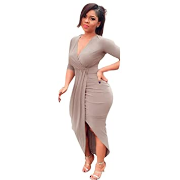 Women Dress Daoroka Women s Sexy Deep V-Neck Bandage Bodycon Casual Long  Sleeve Pleated Party 908e22e3b87b