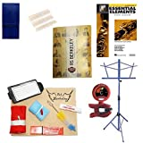 Baritone Saxophone Players Mega Pack - Essential Accessory Pack for the Saxophone: Includes: Saxophone Care & Cleaning Kit, Saxophone Reed Pack w/Reed Holder, Music Stand, Band Folder, Standard of Excellence Book 1 for Bari Sax, & Tuner & Metronome