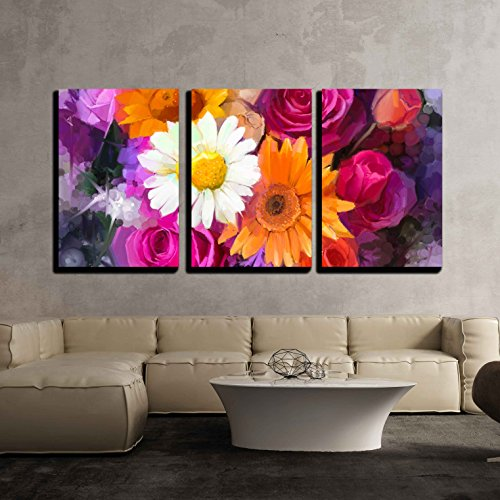 (wall26 - 3 Piece Canvas Wall Art - Closeup Still Life of White, Yellow and Red Color Flowers - Modern Home Decor Stretched and Framed Ready to Hang - 16