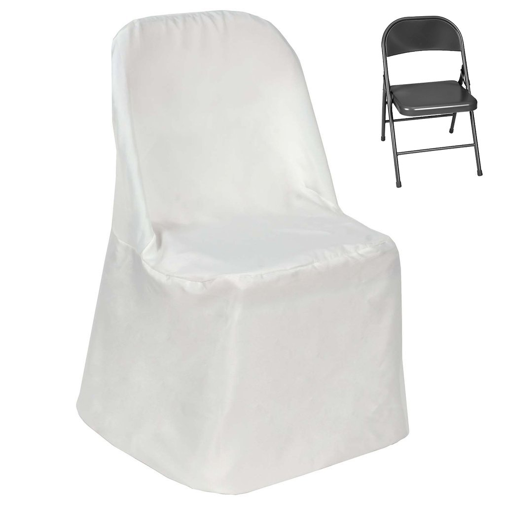 Efavormart Ivory Linen Polyester Folding Chair Cover Dinning Chair Slipcover for Wedding Party Event Banquet Catering
