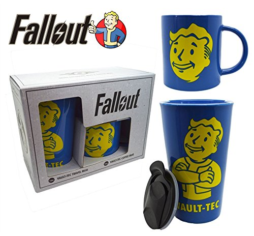 2-Pack 16oz and 20oz Fallout OFFICIAL Vault-Tec & Pip Boy Ceramic Coffee Mug and Travel Mug GIFT SET