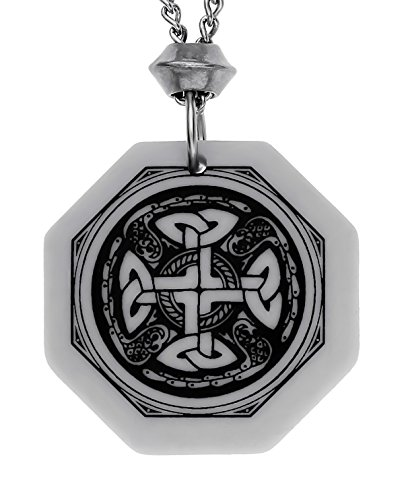 UNYKTOUCH Handmade Celtic Nevern Cross Octagon Shaped Porcelain Pendant (with 18+4 inch Extender Chain)