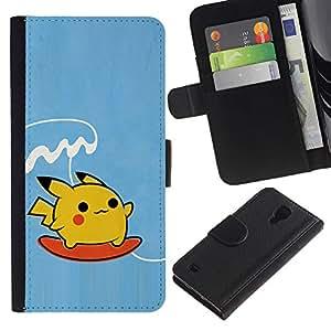 YiPhone /// Tirón de la caja Cartera de cuero con ranuras para tarjetas - Surf de Poke Monster - Samsung Galaxy S4 IV I9500