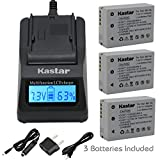 Kastar Ultra Fast Charger Kit and Battery (3-Pack) for Canon NB-10L, CB-2LC work with Canon PowerShot G1 X, PowerShot G15, PowerShot G16, PowerShot SX40 HS, PowerShot SX50 HS, PowerShot SX60 HS