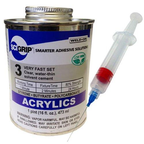 Weld-On 3 Acrylic Adhesive - Pint and Weld-on 25-Gauge Precision Syringe Applicator