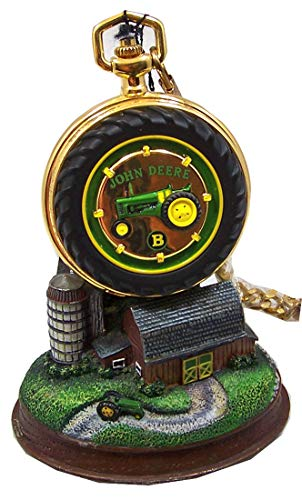 (John Deere Pocket Watch Tractor Model B Franklin Mint Collectible Pocketwatch on Stand )