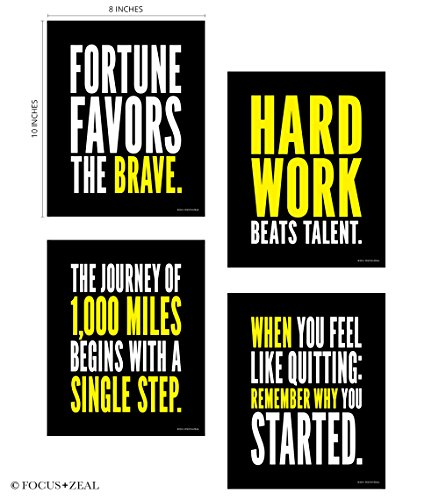 Success Motivational Inspirational Happiness Decorative Poster Print For Goals Hard Work Journey Quitting Brave Step 8 X 10 Inch Set Of 4
