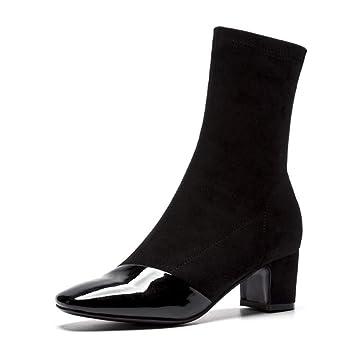 KUKI Botas De Las Mujeres De Otoño Y El Invierno Calcetines Botas Stretch Botas De Tacón