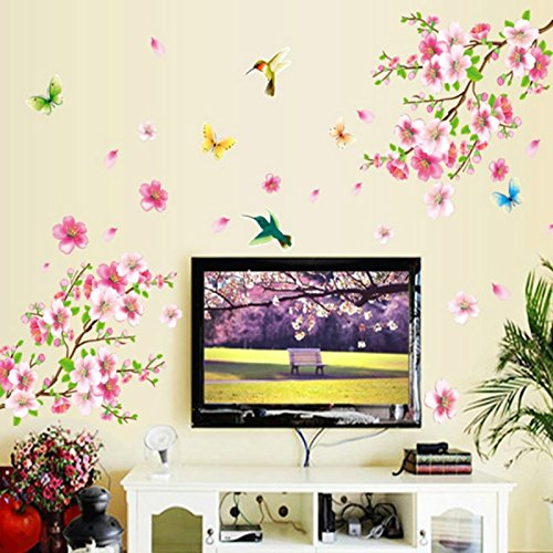 Xuxuou 1 Pcs Elegant Flower Wall Stickers Graceful Peach Blossom Birds Wall Stickers Romantic Living Room Decoration (Color: Pink)