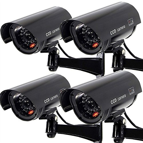 4 Pack Waterproof Dummy Fake Surveillance Security Cctv Dome Camera With Record Led Light Indoor   Outdoor  Black