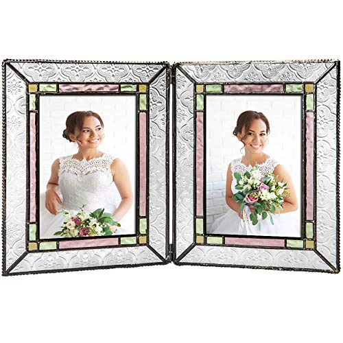 Pale Pink Glass - J Devlin Pic 137-46-2 Stained Glass Picture Frame Colorful Pale Purple Pink Green Family Wedding Photo Frame Multiple Sizes 4x6 Double