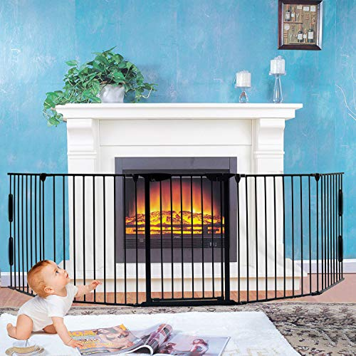 """Fireplace Fence,Baby Safety Gate Fireplace Freestanding 3-in-1 Wide Adjustable 5-Panel Folding Metal Barrier- 125"""" Long Play Yard with Door for Indoor/Pet/Dog/Christmas Tree Enclosure,30"""" Tall Black"""