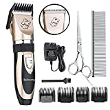 Behomy Low Noise Rechargeable Cordless Electric Pet Clippers Dog Clippers Cat Clippers Grooming Set with 4 Guide Combs(Gold+Black)