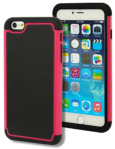 """iPhone 6 Case, Bastex Hybrid Deluxe Hot Pink Shock Armor Case for Apple iPhone 6 Plus, 5.5"""" 6th Generation"""
