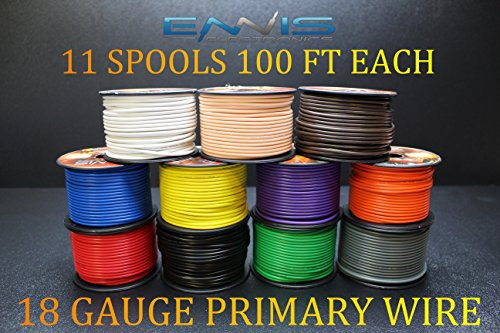 18 GAUGE WIRE ENNIS ELECTRONICS 100 FT SPOOLS PRIMARY REMOTE HOOK UP AWG COPPER CLAD 11 (Wire 100 Spools)