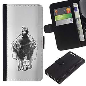 Dibujo Hombre Body Art Lápiz- la tarjeta de Crédito Slots PU Funda de cuero Monedero caso cubierta de piel Para Apple (5.5 inches!!!) iPhone 6+ Plus / 6S+ Plus