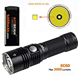 ACEBEAM 2000 Lumens EC60 CREE XHP35HI Rechargeable LED Flashlight with 5000mAh 26650 Rechargeable Battery, Quick Charger (EC60 6000K)