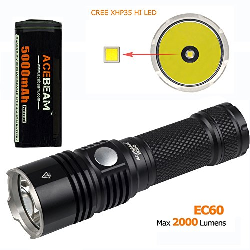 ACEBEAM EC50 GEN Ⅱ CREE XHP70 6000K Rechargeable Flashlight with 5000mAh 26650 Rechargeable Battery Quick Charger (EC50-6000k) by Acebeam