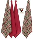 Country Farmhouse Kitchen Dish Towels Bundle of 4 Vintage Flour Sack - Home to Roost 2 Printed Towels and 2 Red Solid and a bonus magnet