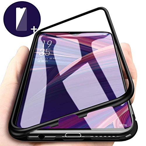VIVO V11 Case, Magnetic Adsorption Metal Case Aluminum 9H Tempered Glass Back Cover [NO Front Tempered Glass][Support Wireless Charging] +Screen Protector
