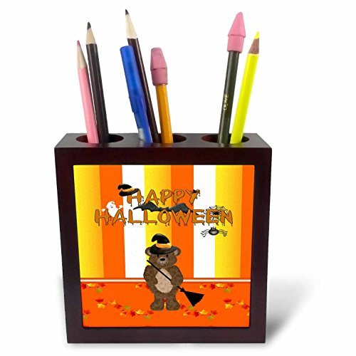 Beverly Turner Halloween Design - Bear in Witch Hat with Broom with Leaves on Ground, Halloween - 5 inch tile pen holder (ph_212234_1)