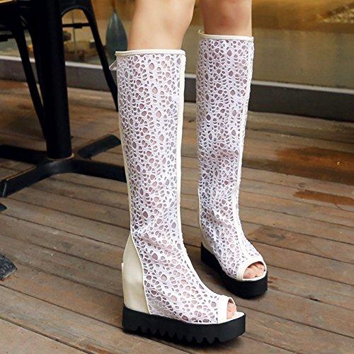 Aisun Kvinnor Mesh Spets Utklipp Peep Toe Hiss Höga Klackar Zip Upp Plattformen Under Knä Höga Stövlar Sandaler Vit