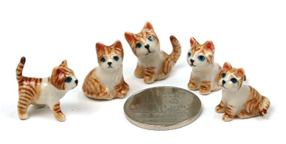 Dollhouse Miniatures Ceramic Orange Mini Cat 5 pcs FIGURINE Animals Decor
