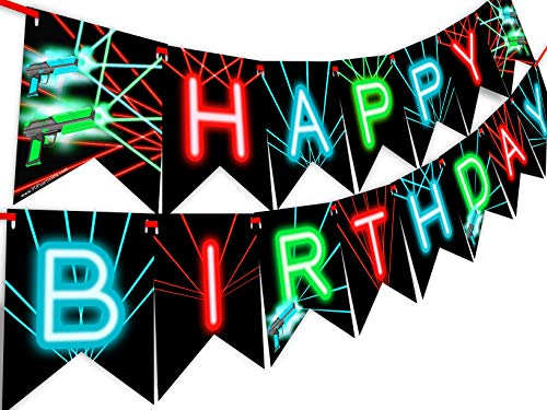 Laser Tag Happy Birthday Banner Pennant - Laser Tag Party Supplies - Laser Tag Decorations - Brights