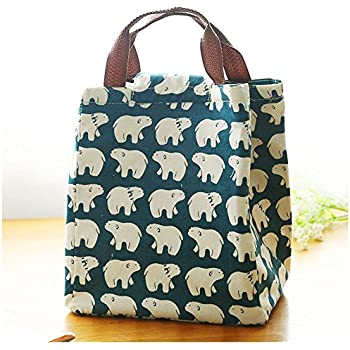 Mziart Cute Reusable Cotton Lunch Bag Insulated Tote Soft Bento Cooler Polar Bear