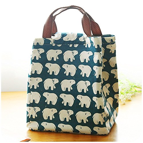 mziart-cute-reusable-cotton-lunch-bag-insulated-lunch-tote-soft-bento-cooler-bag-polar-bear