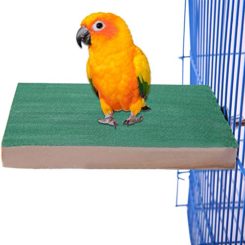 QBLEEV Wood Bird Cage Parakeet Perch Stand Shelf Platform Parrot Playground Birdcage Hanging Play Stands Paw Grinding Clean for Small Animals Cockatiel Budgies Conure Hamster Gerbil Rat Exercise Toy ()