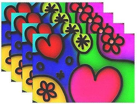 Promini - Manteles Individuales Resistentes al Calor, diseño Moderno de corazón con Textura, Lavables, de poliéster, Antideslizantes, Lavables, Juego de 4 Unidades