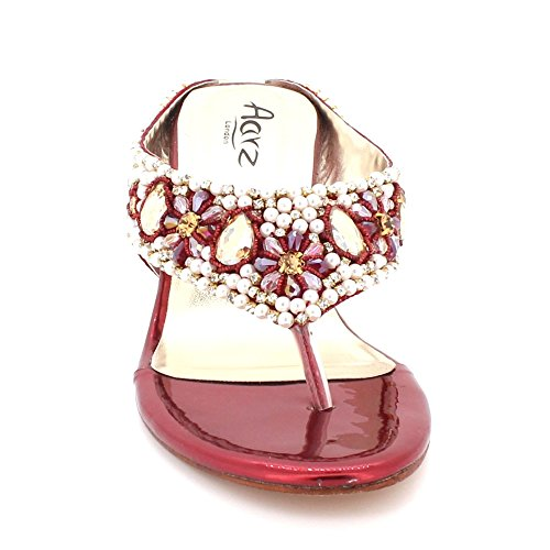 Evening Heel Size Comfort Diamante Wedge Party Bridal Wedding on Shoes Womens Maroon Slip Crystal AARZ Ladies LONDON Prom Sandals 7w1CXq4T