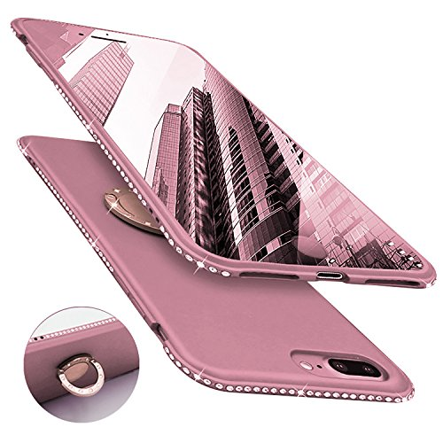 Newseego Compatible with iPhone 7 Plus Case,iPhone 8 Plus Case, Glitter Cute Phone Case with 360° Rotation Bling Diamond Rhinestone Bumper Ring Stand for iPhone 7 Plus/ 8 Plus-Rose Gold