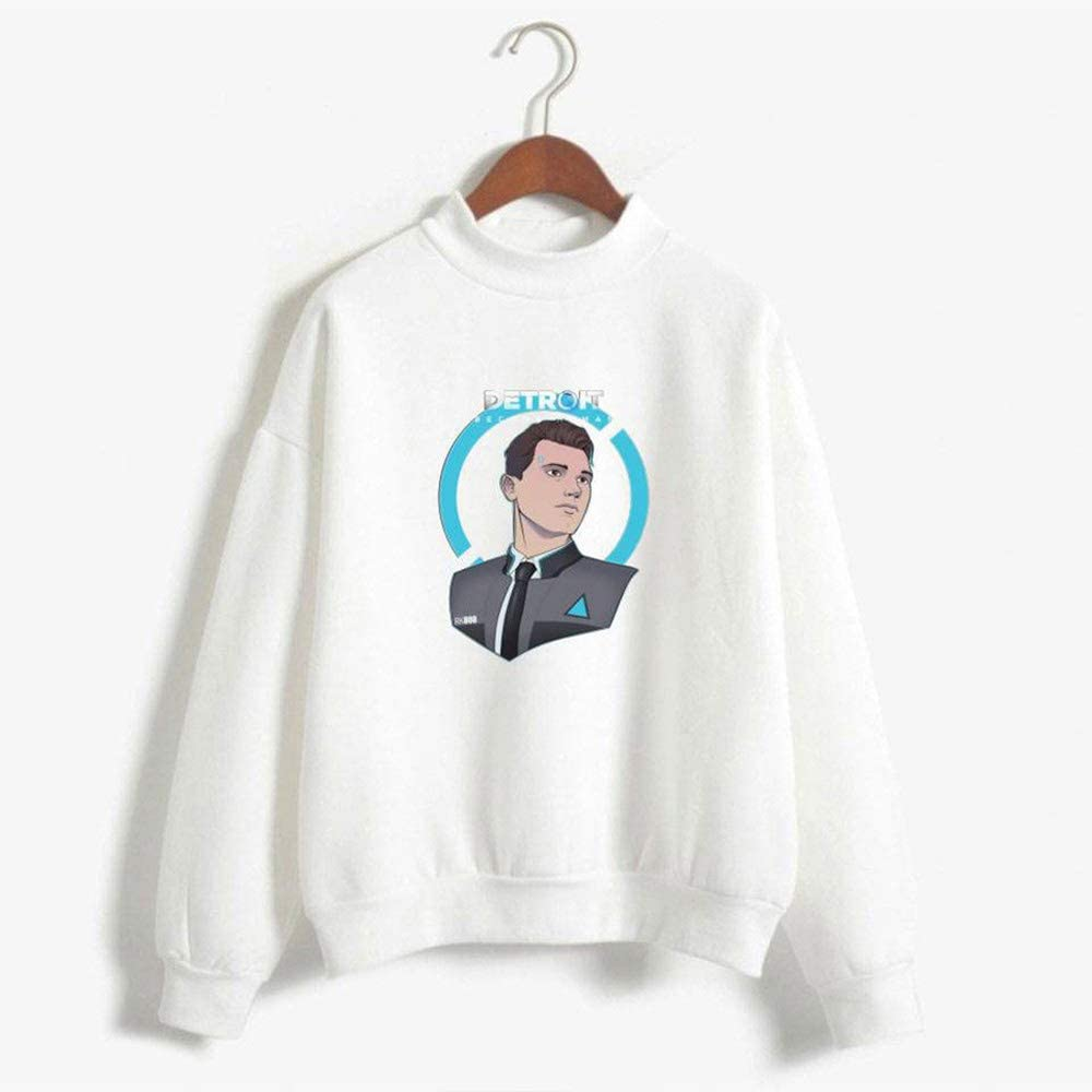 biaohe Detroit Become Human Hoodies Couples Fall and Winter Leisure and Trend Hoodies D Gray XXS