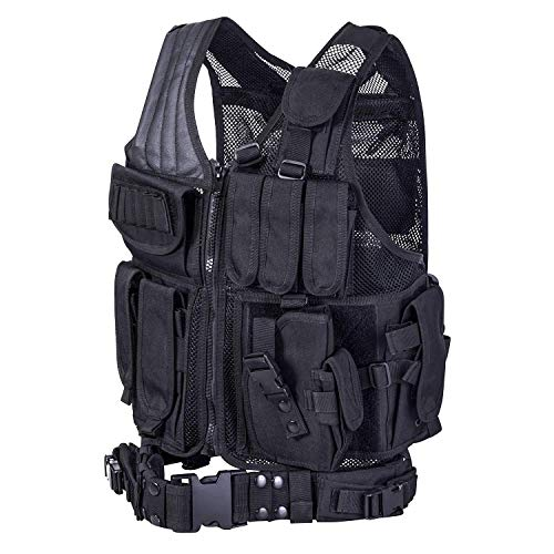 Tactical Vest - REEHUT Breathable Tactical Vest with Numerous Pouches - Combat Training Vest Adjustable for Adults Suitable for Special Mission, Combat Training, Field Operations and Military Fans