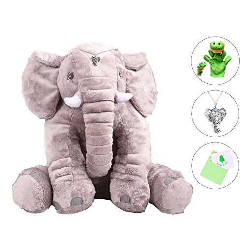 LACALA Large/Big Stuffed Animals Soft Elephant Plush Toy w/ Extra Frog Finger Doll Elephant Pendant Greeting Card, Gray 24 Inch,for Children/Boys/Girls/Christmas/Valentine