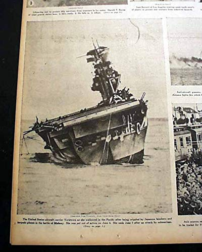 USS YORKTOWN Aircraft Carrier Battle of Midway SINKING 1942 WWII Old Newspaper CHICAGO DAILY TRIBUNE, September 17, 1942
