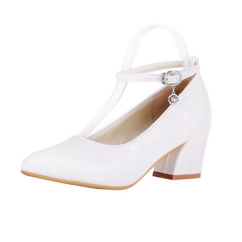 TALLA 37.5 EU. AgeeMi Shoes Mujer Hebilla Sólido Tacón Medio Puntera EN Punta PU de Salón
