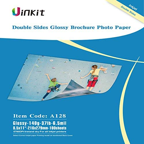 Thin Double Sided Glossy Photo Paper - 100 Sheets 8.5x11 Inches 6.5Mil 140g For Inkjet Printing Only (Double Sided Printing Paper)