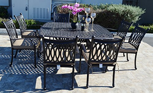 - Grand Tuscany Cast Aluminum Powder Coated 9pc Outdoor Patio Dining Set with 64