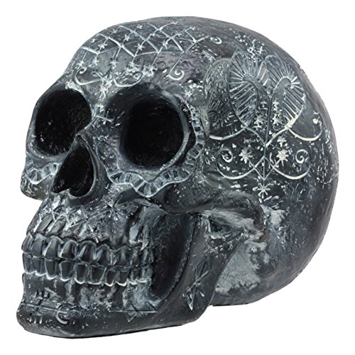 Ebros Gothic Black Erzulie Freda Veve Haitian Ancient Voodoo Love Spells Romance Talisman Tattoo Skull Statue Gothic Skull Lwas Voudou Loa of Love Day of The Dead Skeleton Cranium Figurine -