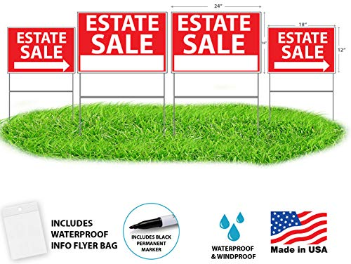 WDS Premium Estate Sale Signs with Tall Yard Stakes | 4-Pack Yard Sign Bundle w/Directional Arrows | Waterproof Tall Sturdy Reusable Double Sided Kit | Bonus: Ziploc Flyer Bag + Permanent Marker