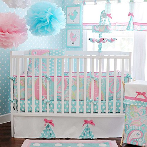3 Piece Blue Pink Yellow Paisley Baby Crib Bedding Set, Newborn Nursery Bed Set Infant Child Soft Cotton Candy Adorable Solid Cozy Polka Dot Pattern Blanket Comforter, Cotton by Unknown