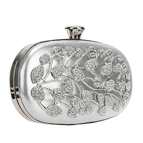 Evening Wedding And Party For Women Silver Purses Leaves Clutch Bonjanvye Flower Clutches HUY6zn68x
