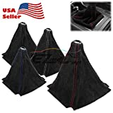 Universal Alcantara Genuine Leather Shift Knob Shifter Boot Cover Black With Red Stitches MT AT Sport