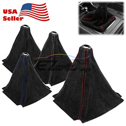 Universal Real Alcantara Shift Knob Shifter Boot Cover Black With Red Stitches Genuine Leather MT AT - Alcantara Black
